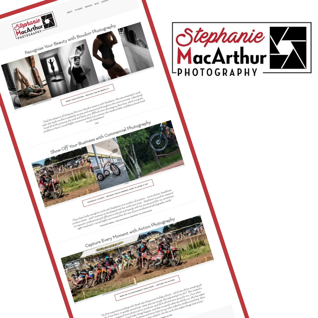 Portfolio image of a website designed by Danielle Crowell for Stephanie MacArthur Photography in Truro, NS